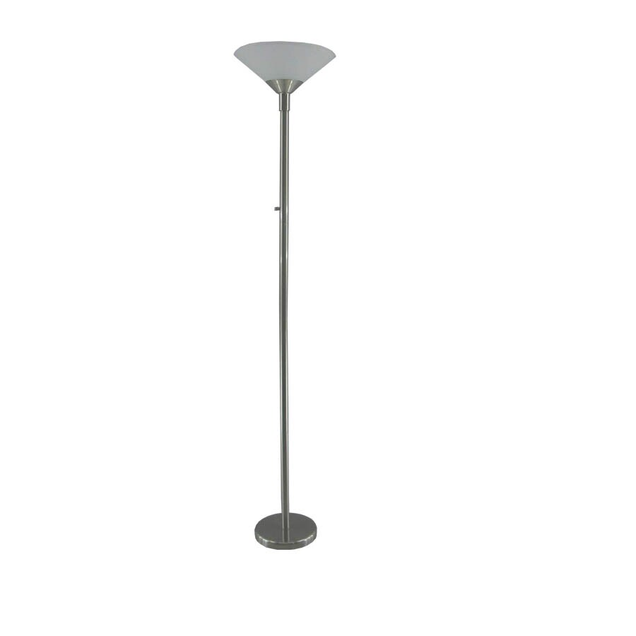 Portfolio 71-in Brushed Nickel Casual/Transitional Standard Torchiere Indoor Floor Lamp with Glass Shade