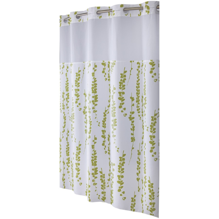 Hookless Polyester Moss Floral Shower Curtain