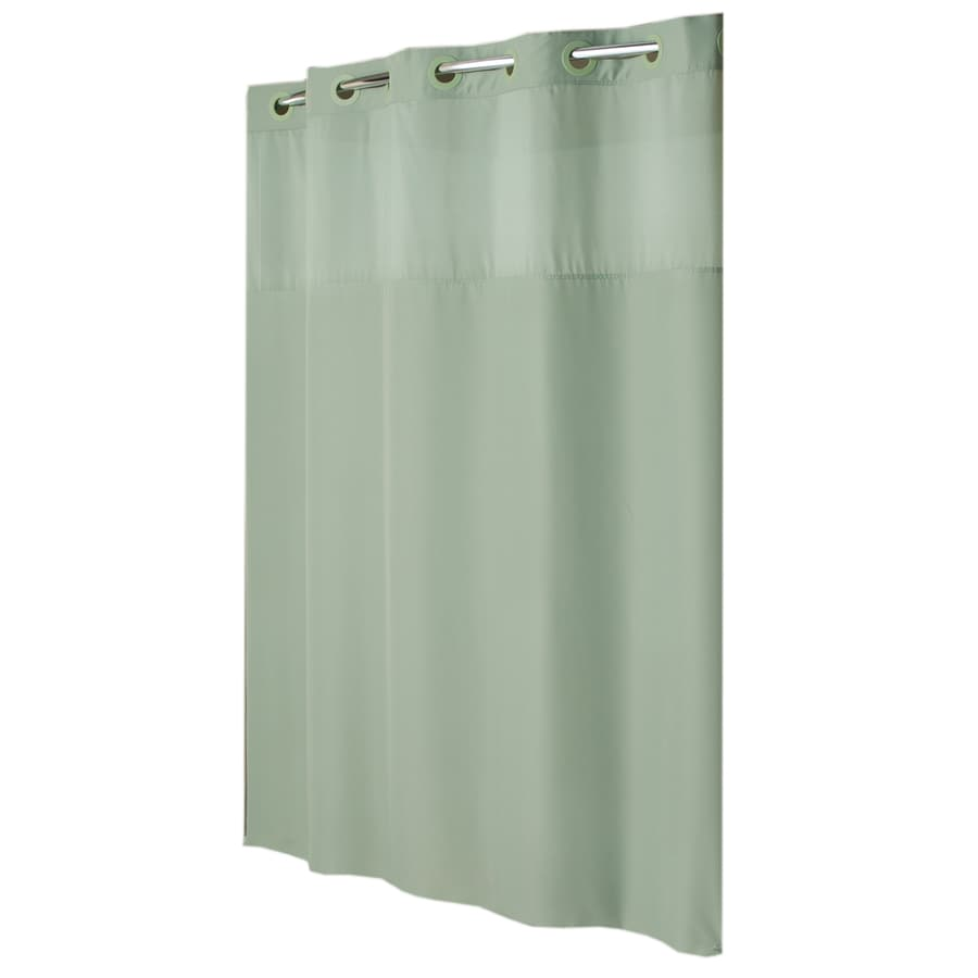 Hookless Polyester Sage Green Mystery Solid Shower Curtain 74 In X 71