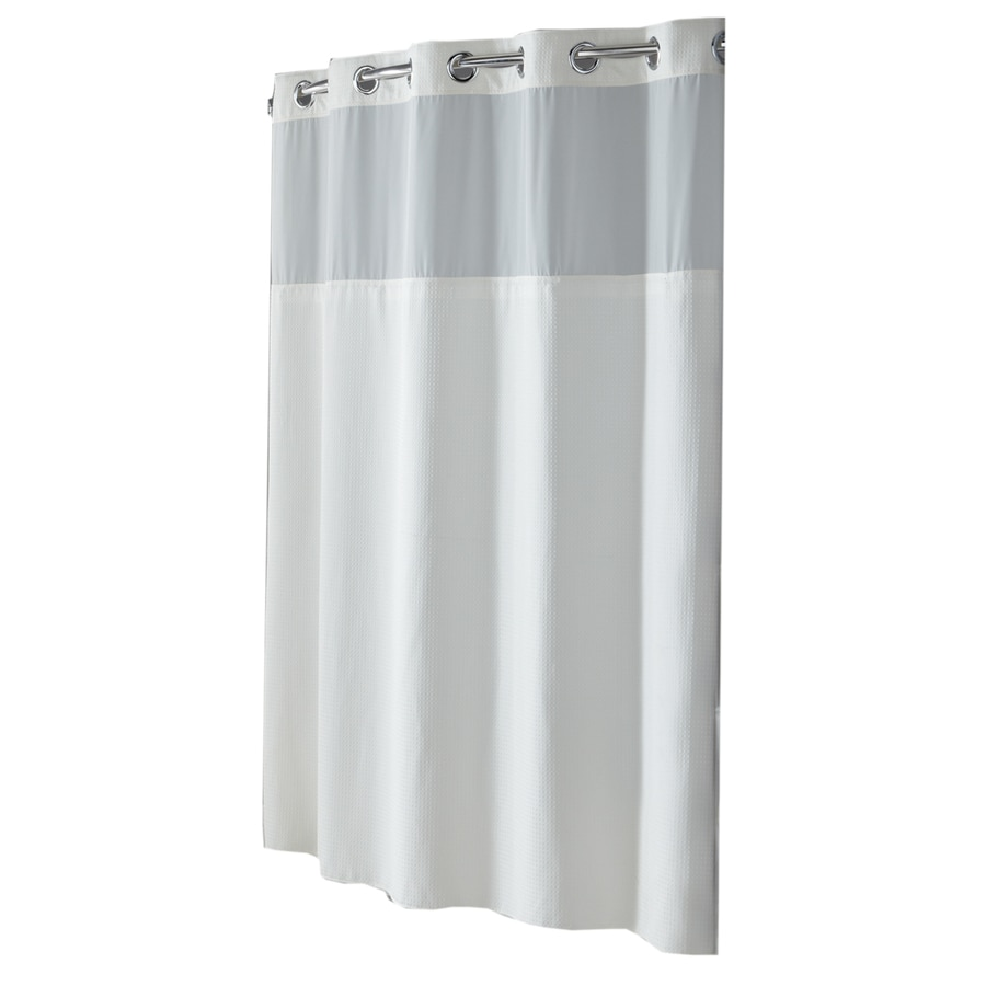 Shop Hookless Polyester White Diamond Pique Solid Shower Curtain ...