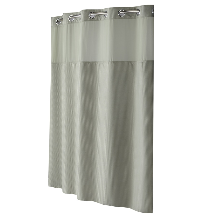 Hookless Polyester Sage Green Diamond Pique Solid Shower Curtain