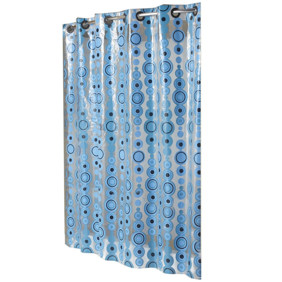Hookless EVA/PEVA Blue Circle Drop Patterned Shower Curtain