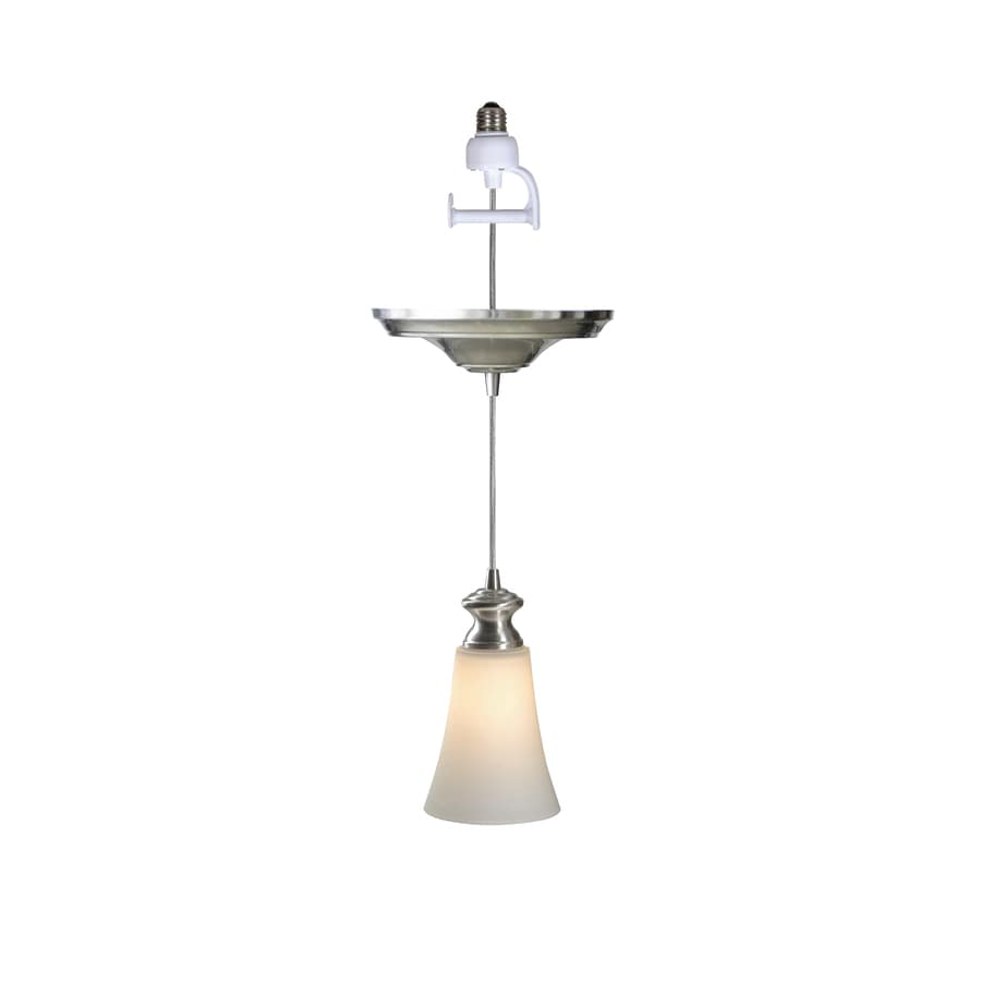 Portfolio Recessed Can Conversion Pendant Light With Glass Shade