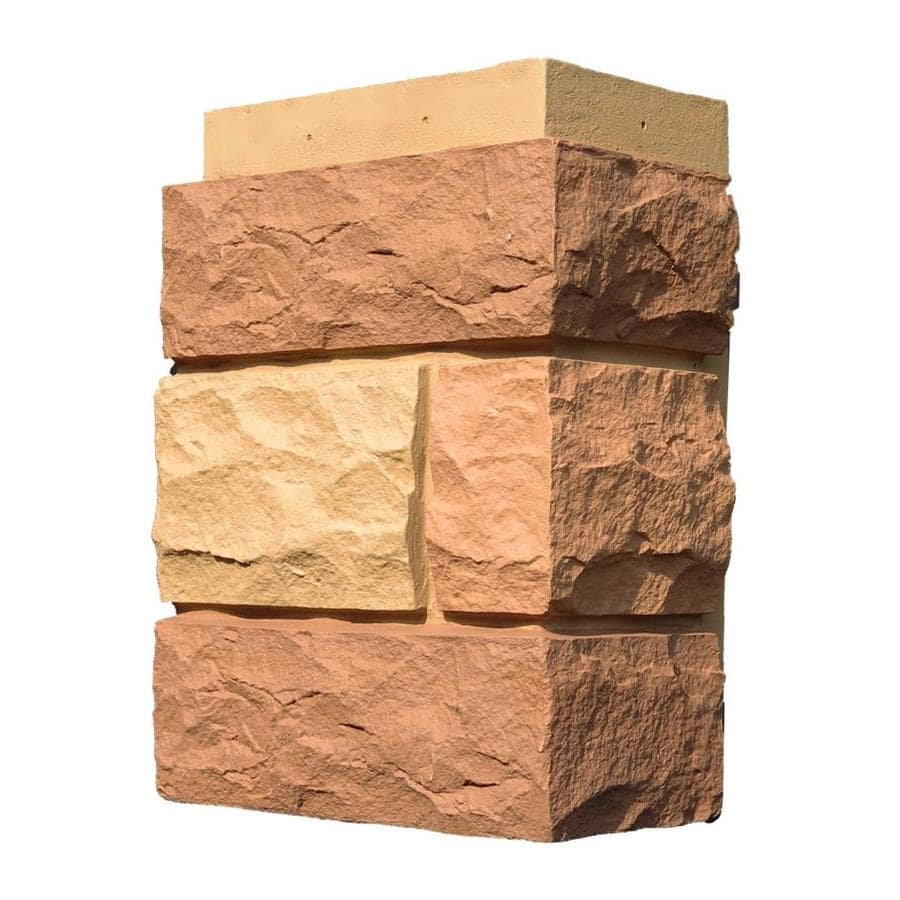 NextStone Random Rock 4-Pack 7-in x 15.5-in Tri Sedona Red Molded Corner Stone Veneer Trim