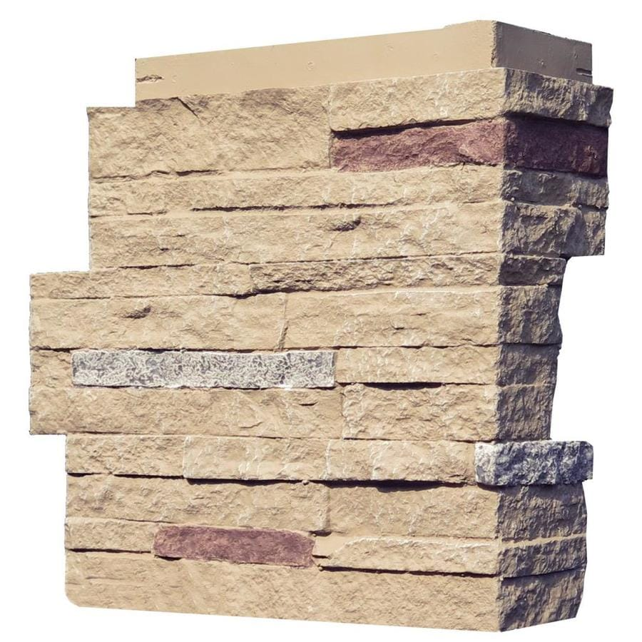 NextStone Stacked Stone 4-Pack 4.25-in x 13.75-in Sandy Buff Molded Corner Stone Veneer Trim