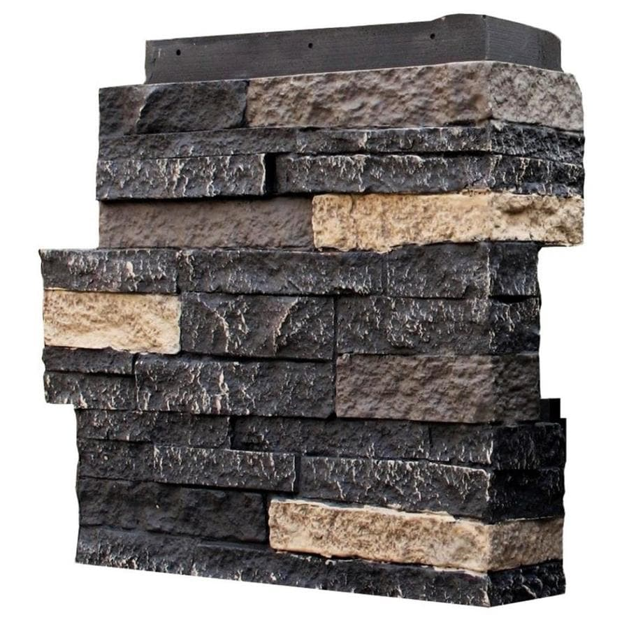 NextStone Stacked Stone 4-Pack 4.25-in x 13.75-in Bedford Charcoal Molded Corner Stone Veneer Trim