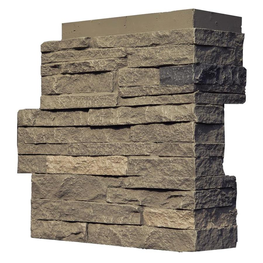 NextStone Stacked Stone 4-Pack 4.25-in x 13.75-in Volcanic Gray Molded Corner Stone Veneer Trim
