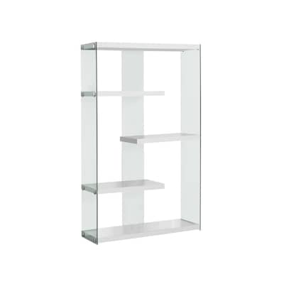 official photos d59fd eb5d5 Glossy White Glass 4-Shelf Bookcase