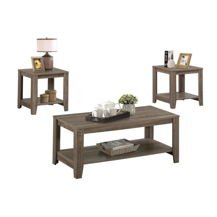 Monarch Specialties 3 Piece Dark Taupe Reclaimed Accent Table Set In The Accent Table Sets Department At Lowes Com
