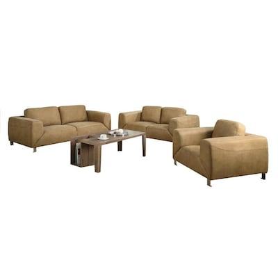 Monarch Specialties Modern Tan Microfiber Sofa at Lowes.com
