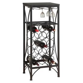 Monarch Specialties 15 Bottle Black Freestanding Floor Wine Rack