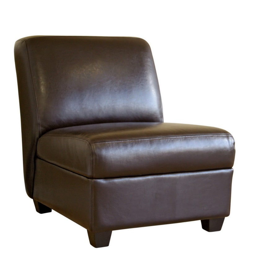 Shop baxton studio modern brown faux leather club chair at for Modern leather club chairs
