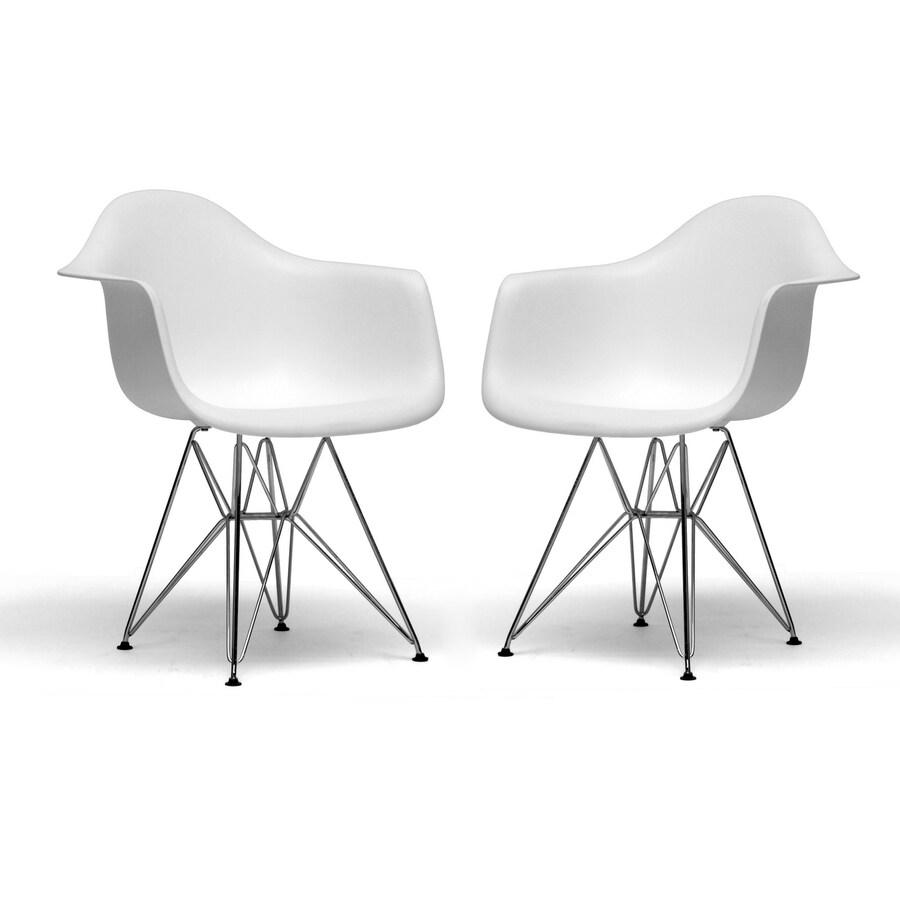 Baxton Studio Dario White Molded Plastic Chair Set Of 2