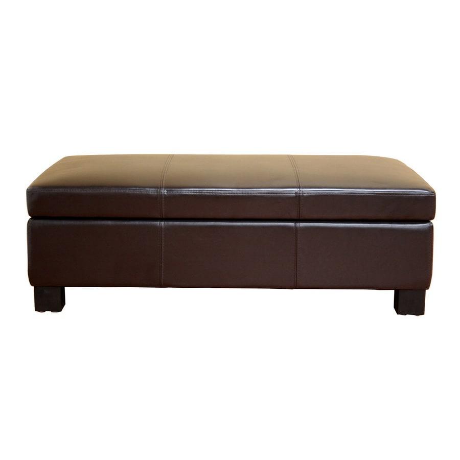 Baxton Studio Modern Brown/Tan Faux Leather Storage Ottoman