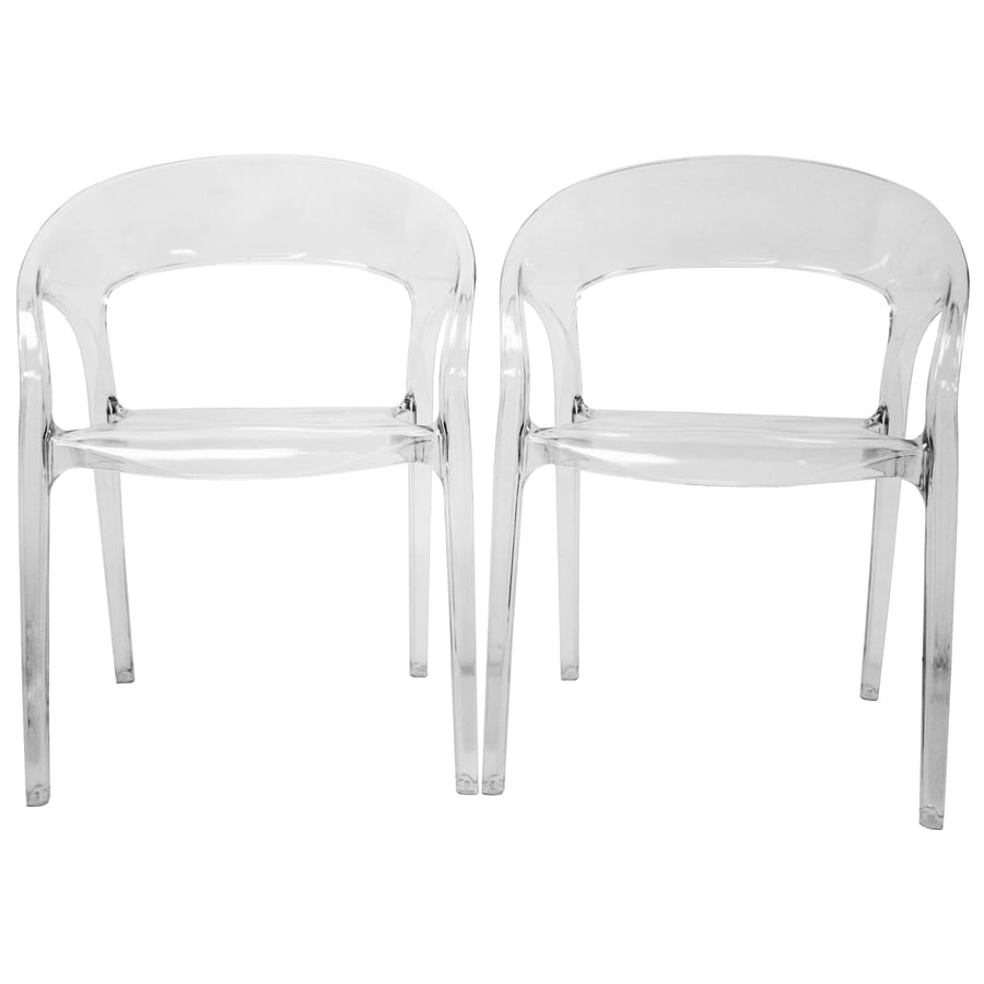 Baxton Studio Set of 2 Clear Side Chairs