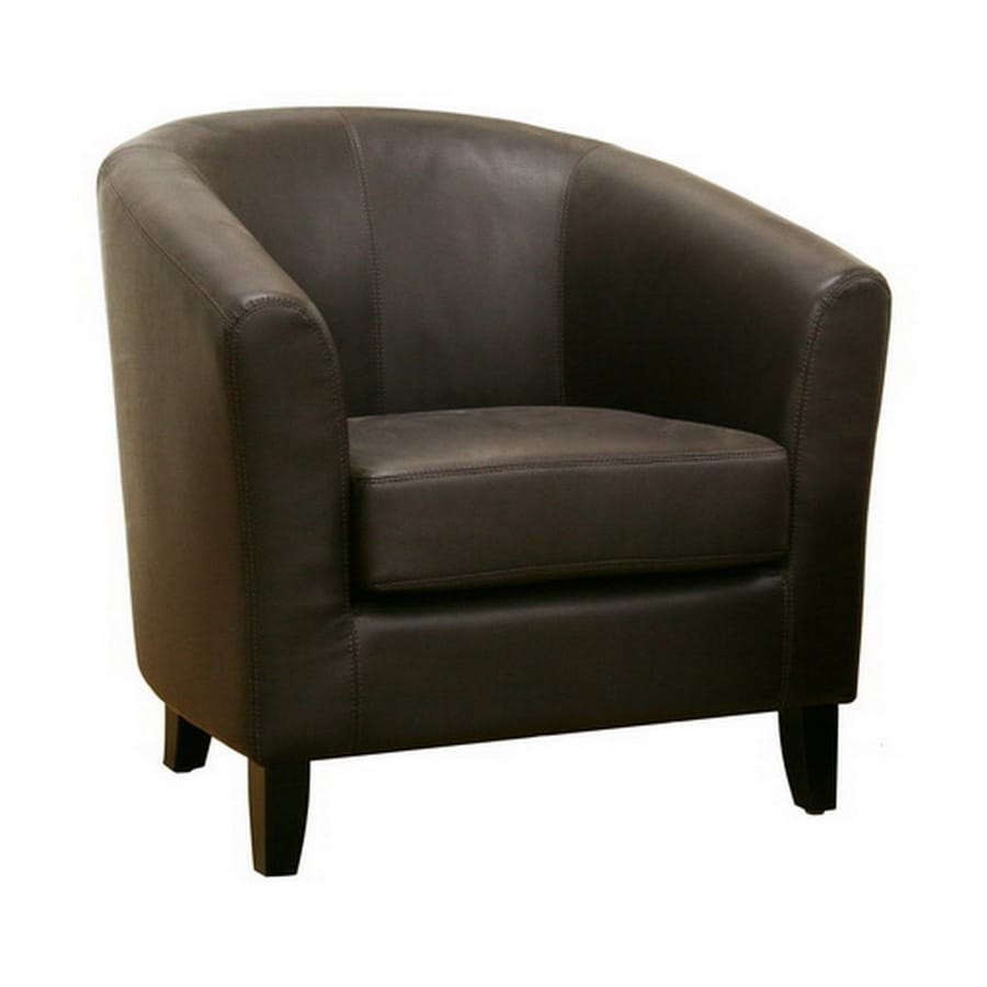 Shop baxton studio modern dark brown faux leather club for Modern leather club chair