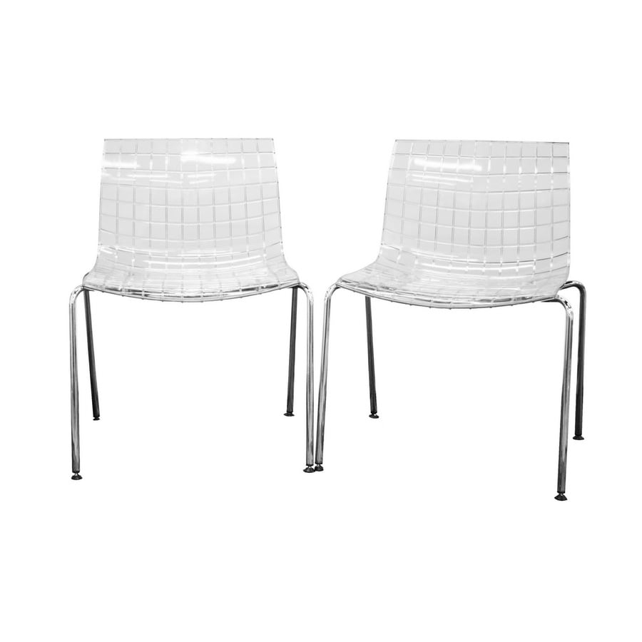Baxton Studio Set of 2 Contemporary Clear Side Chairs