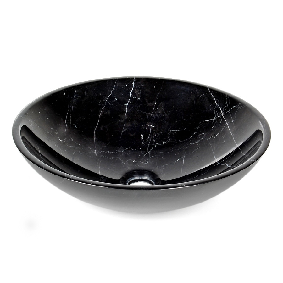 D'Vontz Black Marquine Marble Vessel Round Bathroom Sink