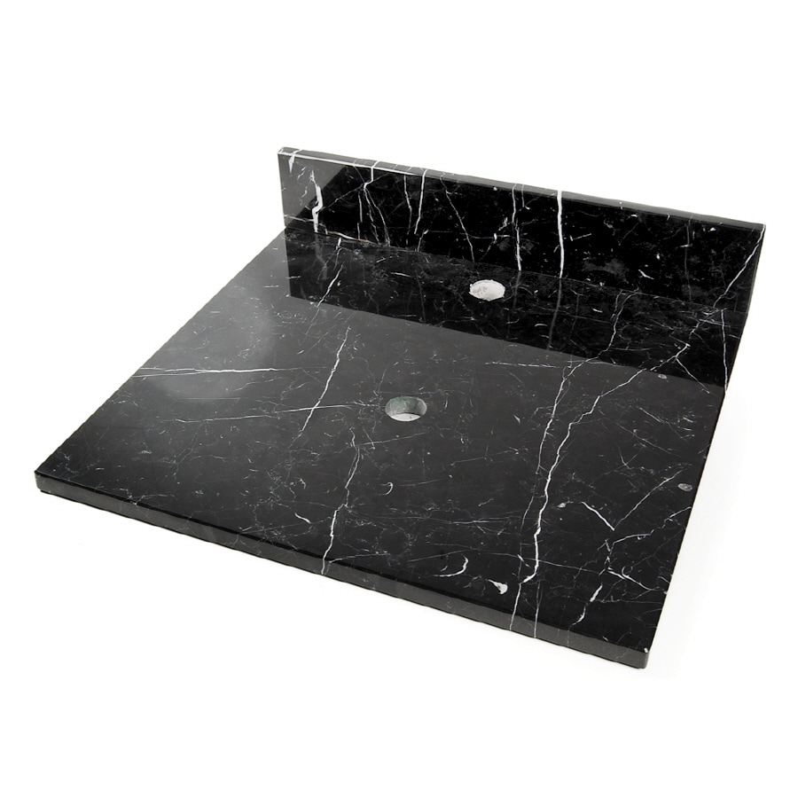 D'Vontz Natural Stone Vanity Tops Black Marquine Natural Marble Single Sink Bathroom Vanity Top (Common: 22-in x 20-in; Actual: 22-in x 20-in)