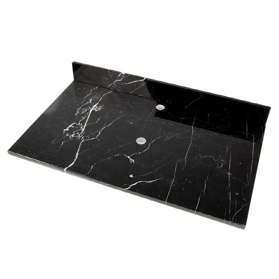 D'Vontz Natural Stone Vanity Tops Black Marquine Natural Marble Bathroom Vanity Top (Common: 31-in x 22-in; Actual: 31-in x 22-in)