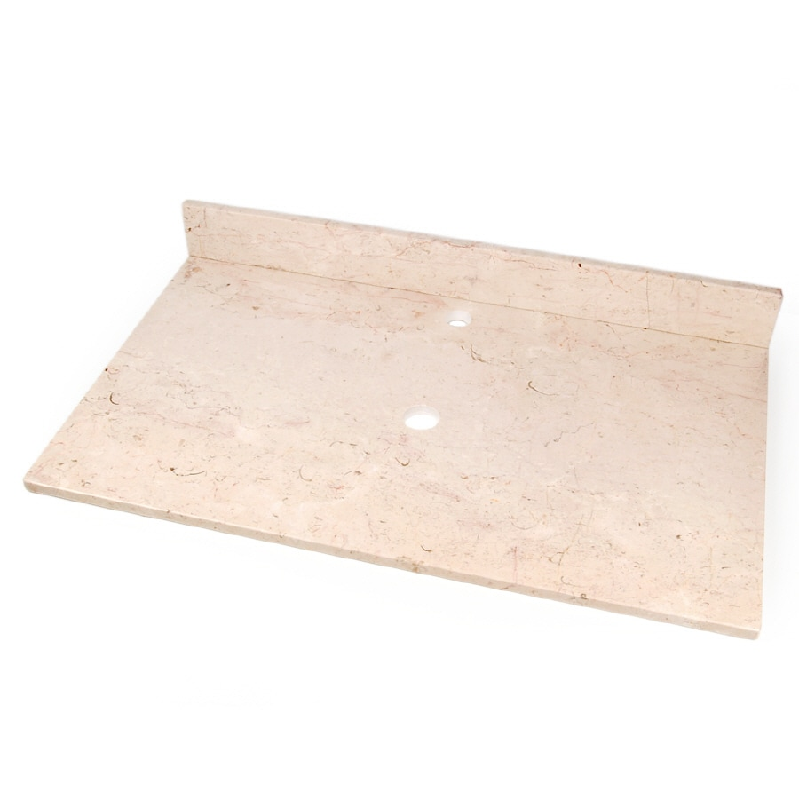 D'Vontz Natural Stone Vanity Tops Crema Rossa Natural Marble Bathroom Vanity Top (Common: 37-in x 22-in; Actual: 37-in x 22-in)