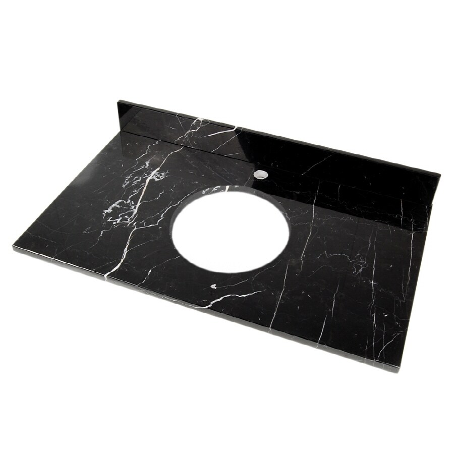 D'Vontz Black Marquine Natural Marble Single Sink Bathroom Vanity Top (Common: 37-in x 22-in; Actual: 37-in x 22-in)