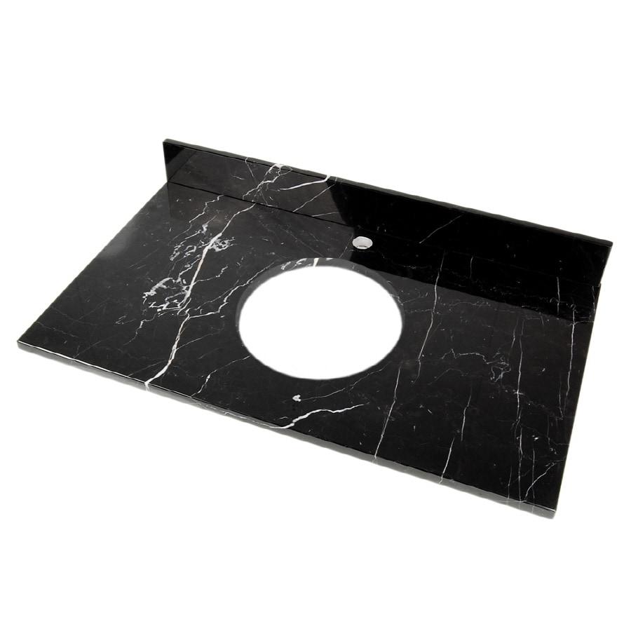 D'Vontz Natural Stone Vanity Tops Black Marquine Natural Marble Bathroom Vanity Top (Common: 37-in x 22-in; Actual: 37-in x 22-in)