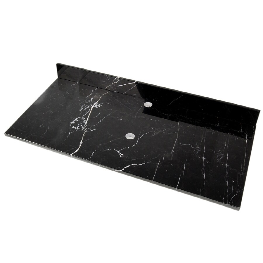 D'Vontz Black Marquine Natural Marble Single Sink Bathroom Vanity Top (Common: 49-in x 22-in; Actual: 49-in x 22-in)