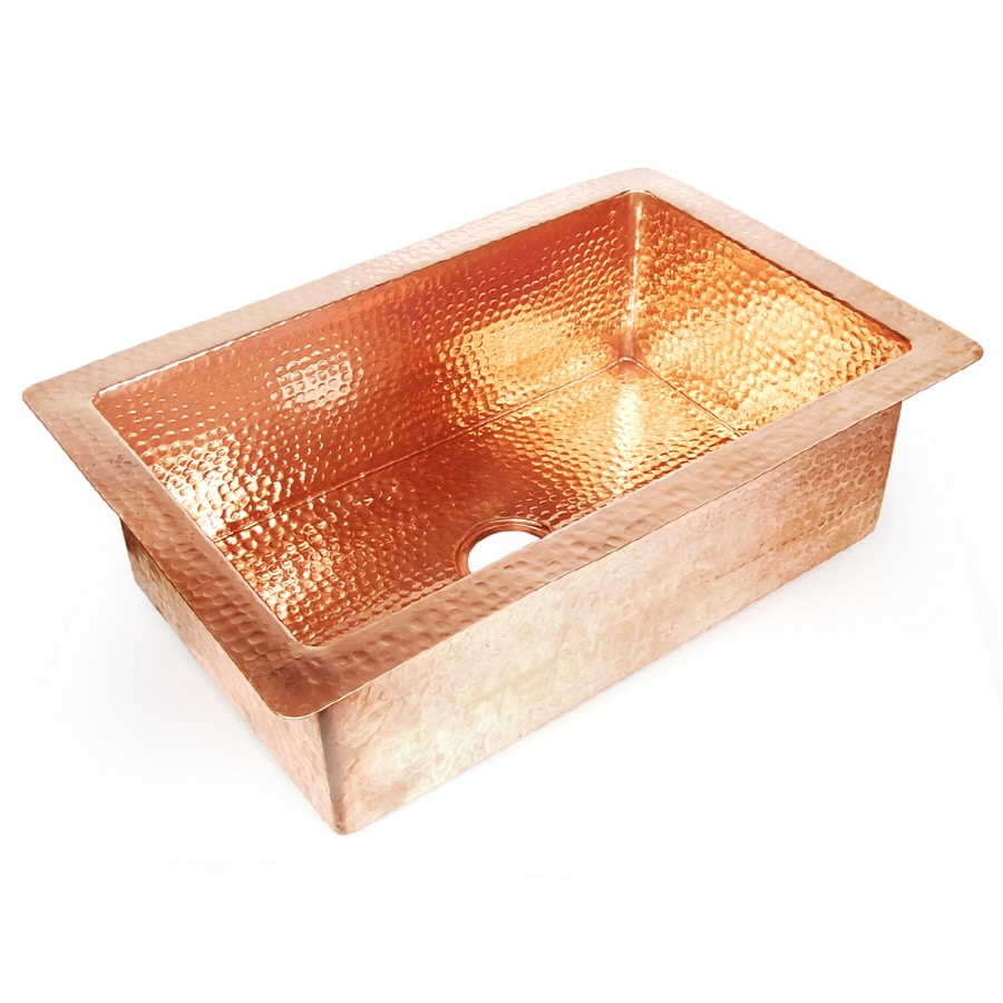 D'Vontz 25-in x 36-in Copper Single-Basin Copper Undermount Kitchen Sink