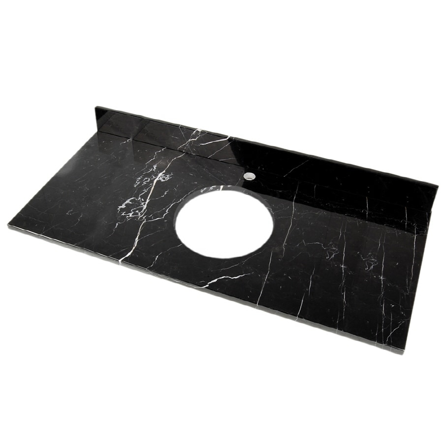 D'Vontz Natural Stone Vanity Tops Black Marquine Natural Marble Bathroom Vanity Top (Common: 61-in x 22-in; Actual: 61-in x 22-in)