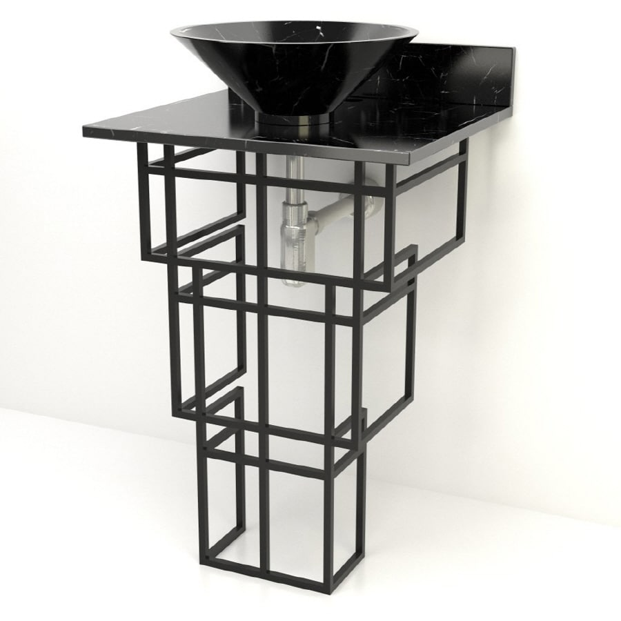 D'Vontz 35-in H Black Stone Pedestal Sink (Drain Included)
