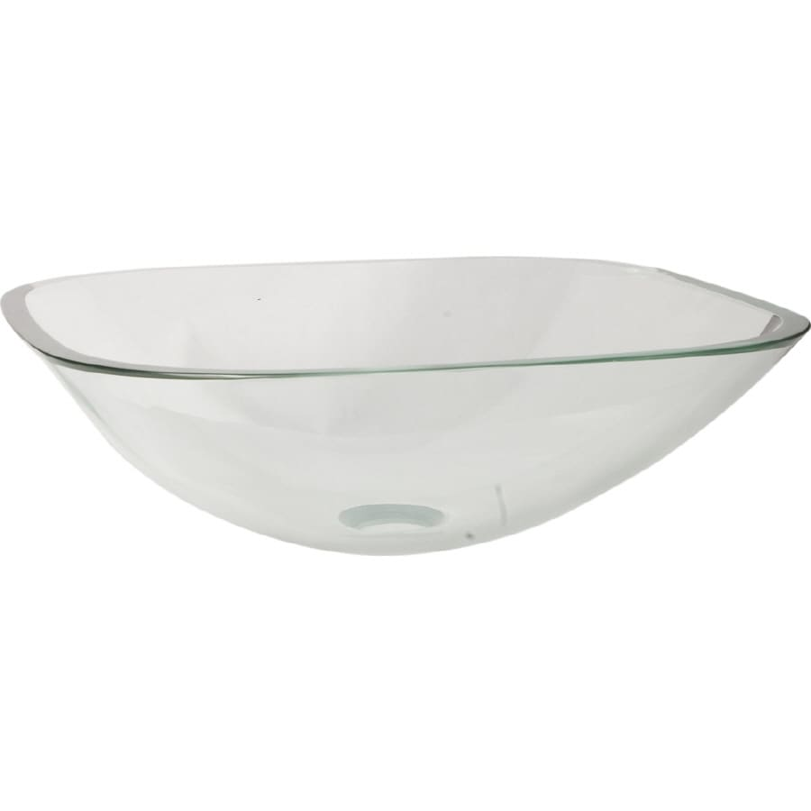 LOFT 5-in D Clear with Green Tint Glass Square Vessel Sink
