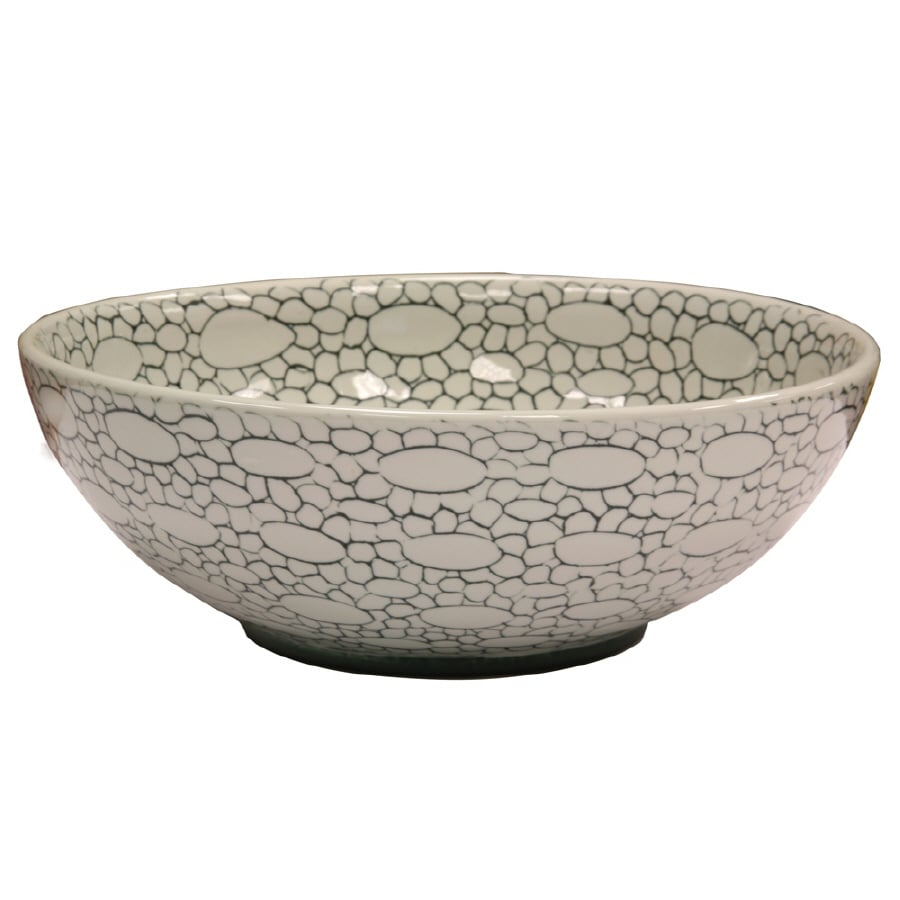 LOFT White and Green Fire Clay Vessel Round Bathroom Sink