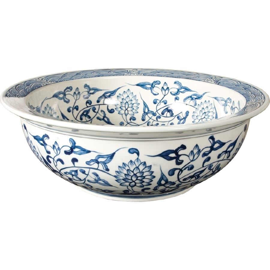 Loft 5 In D Blue And White Fireclay Round Vessel Sink