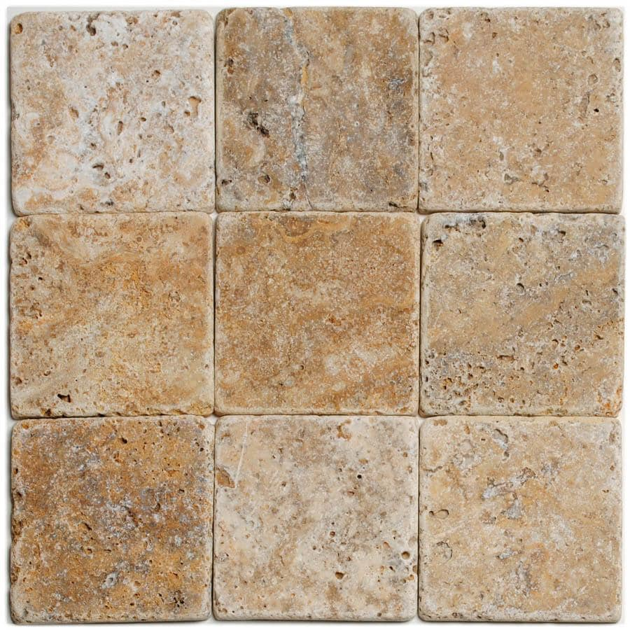 Big Pacific 4-in x 4-in Scabos Travertine Floor Tile
