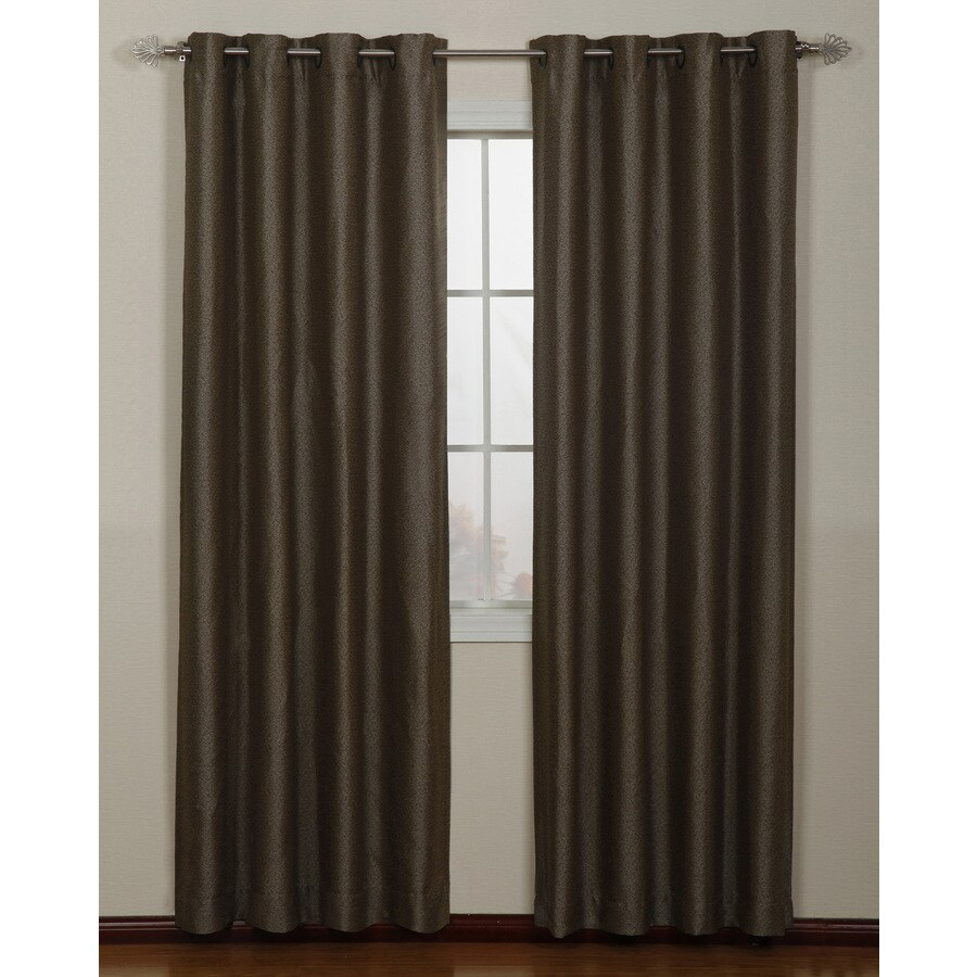 Stratford Park Aruba 95-in Coffee Polyester Grommet Light Filtering Single Curtain Panel
