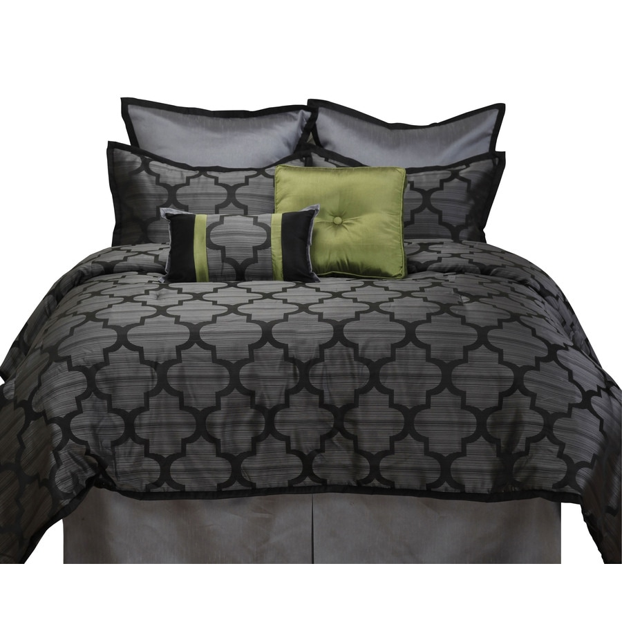 Stratford Park Alhambra 8-Piece Black/Silver California King Comforter Set