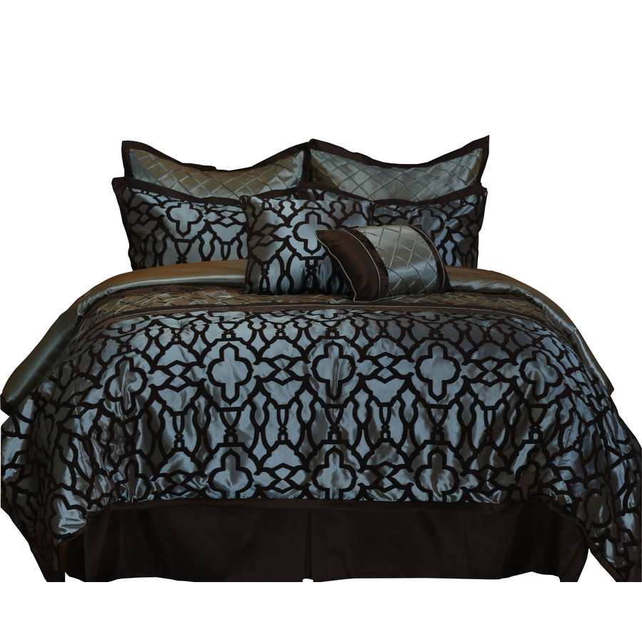 Stratford Park Jordan 8-Piece Spa Blue/Chocolate California King Comforter Set