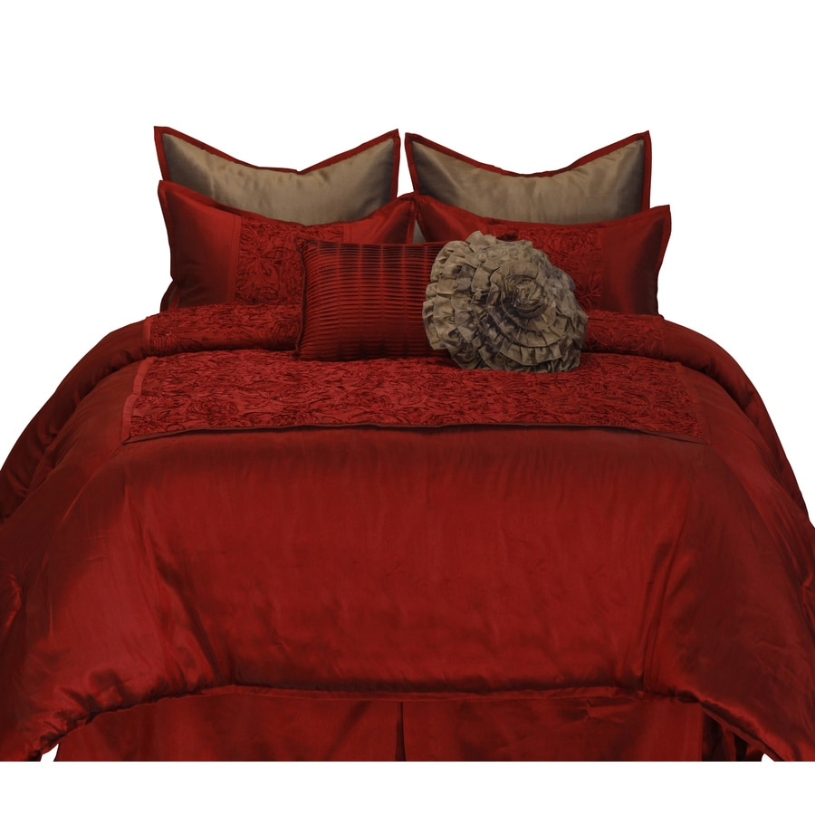 Stratford park granville 8 piece red california king comforter set