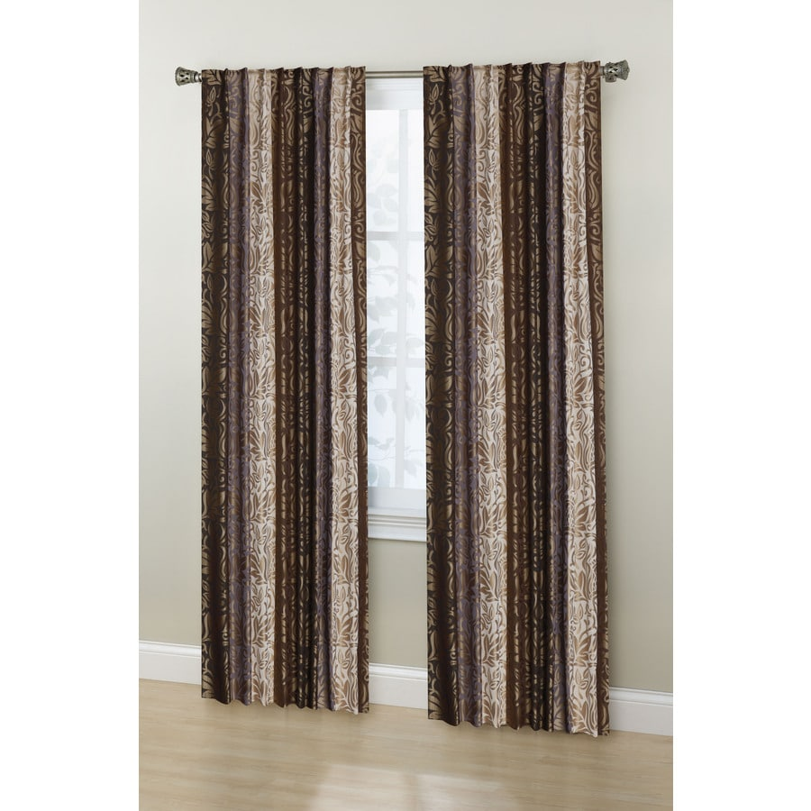 Stratford Park Laurence 84-in Tan/Brown/Gold Polyester Back Tab Room Darkening Curtain Panel Pair