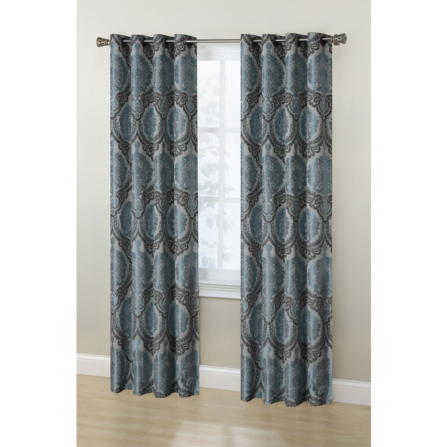 Stratford Park Sofia 84-in Teal/Ivory/Chocolate Polyester Grommet Room Darkening Curtain Panel Pair