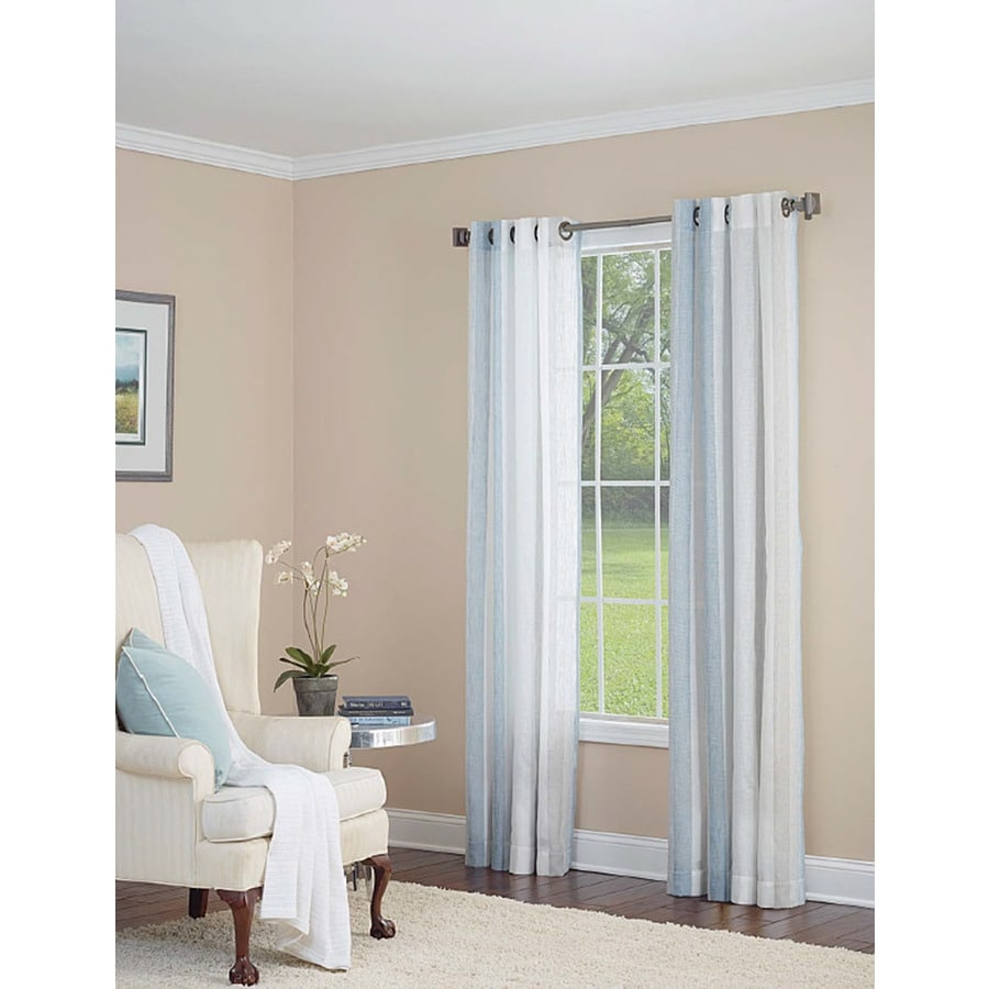 allen + roth Grovegate 84-in Sky Blue Polyester Grommet Light Filtering Single Curtain Panel