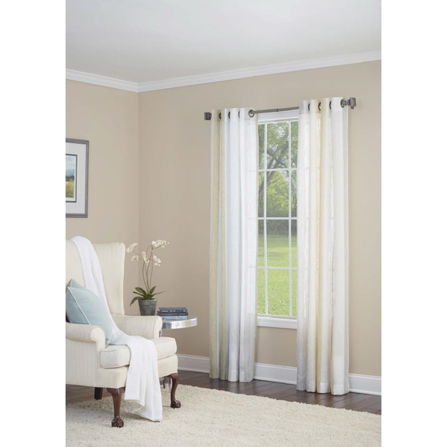 allen + roth Grovegate 84-in Gold Faux Linen Grommet Light Filtering Semi-Sheer Single Curtain Panel