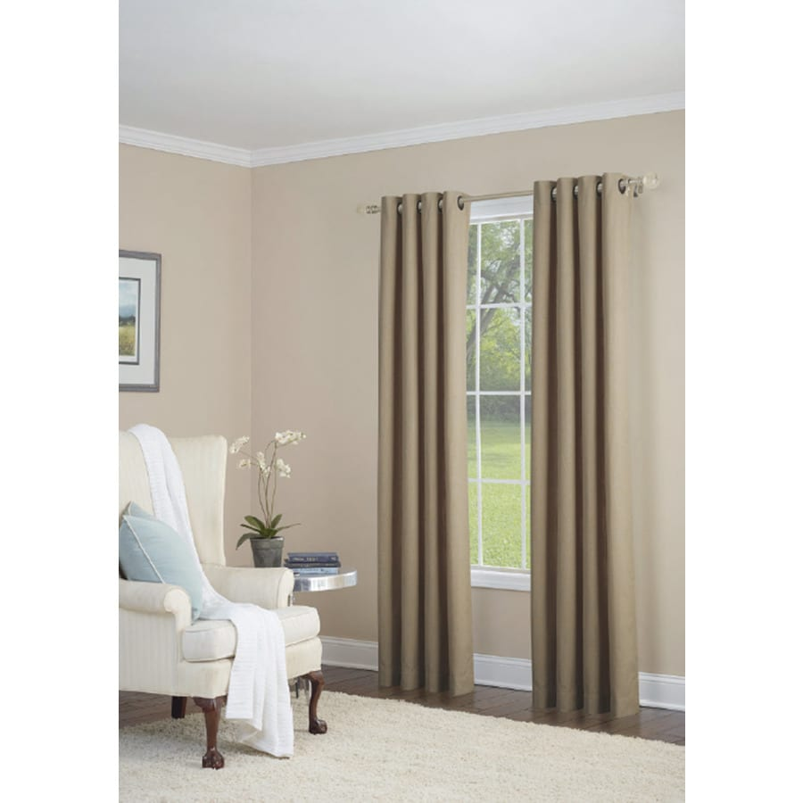 allen + roth Whinfell 84-in Camel Faux Linen Grommet Light Filtering Single Curtain Panel