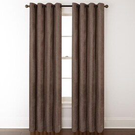 allen + roth Silcroft 84-in Chocolate Chenille Light Filtering Single Curtain Panel