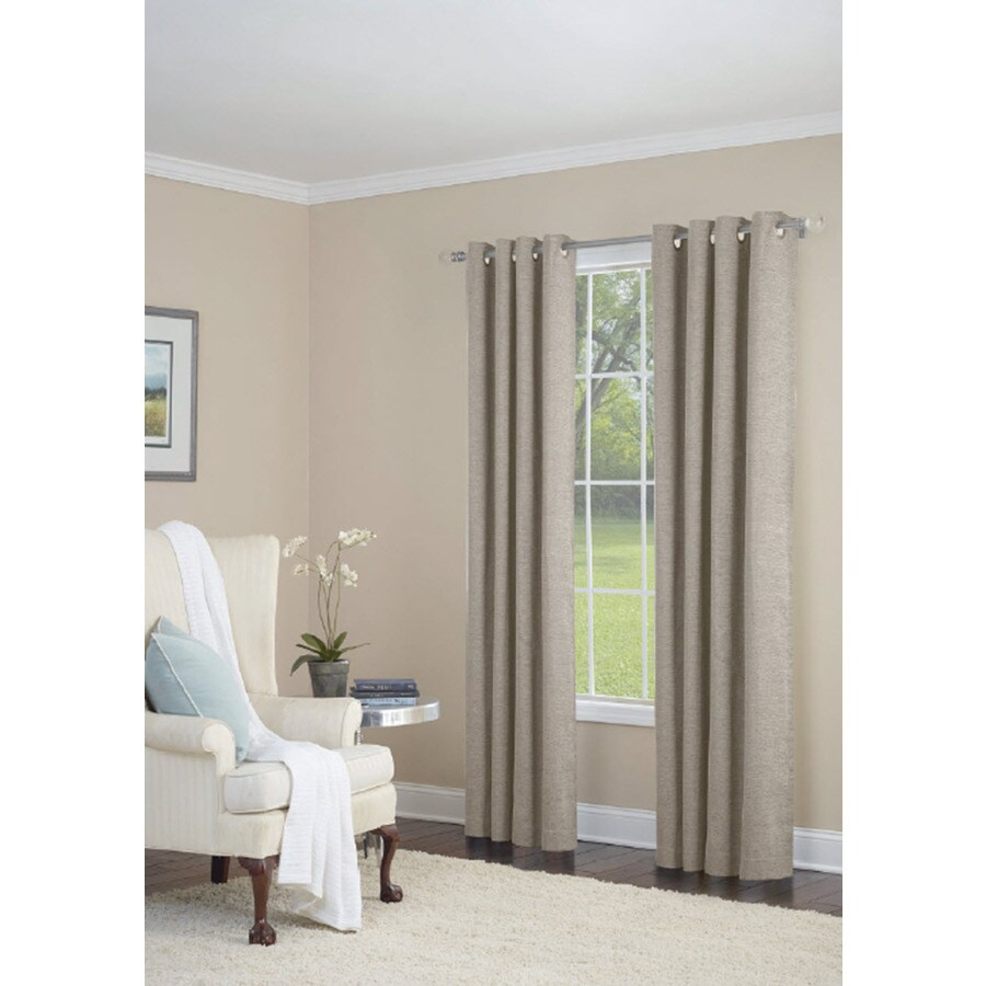 allen + roth Silcroft 84-in Ivory Chenille Grommet Light Filtering Single Curtain Panel
