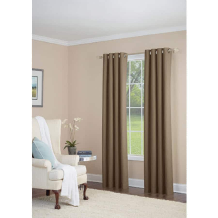 allen + roth Whinfell 63-in Camel Faux Linen Grommet Light Filtering Single Curtain Panel