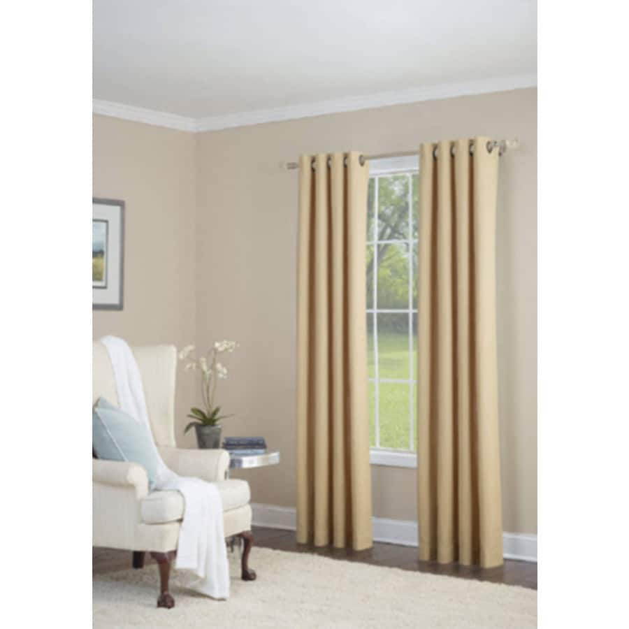 allen + roth Whinfell 63-in Gold Faux Linen Grommet Light Filtering Single Curtain Panel