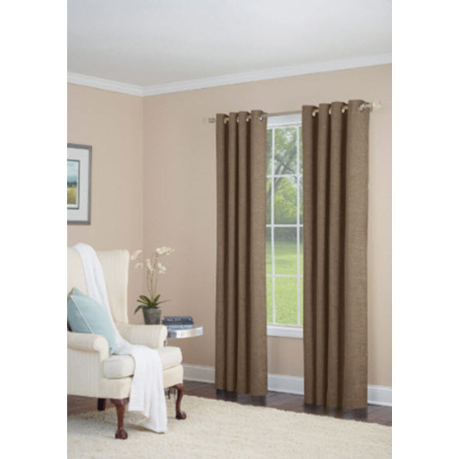 allen + roth Silcroft 63-in Chocolate Chenille Grommet Light Filtering Single Curtain Panel
