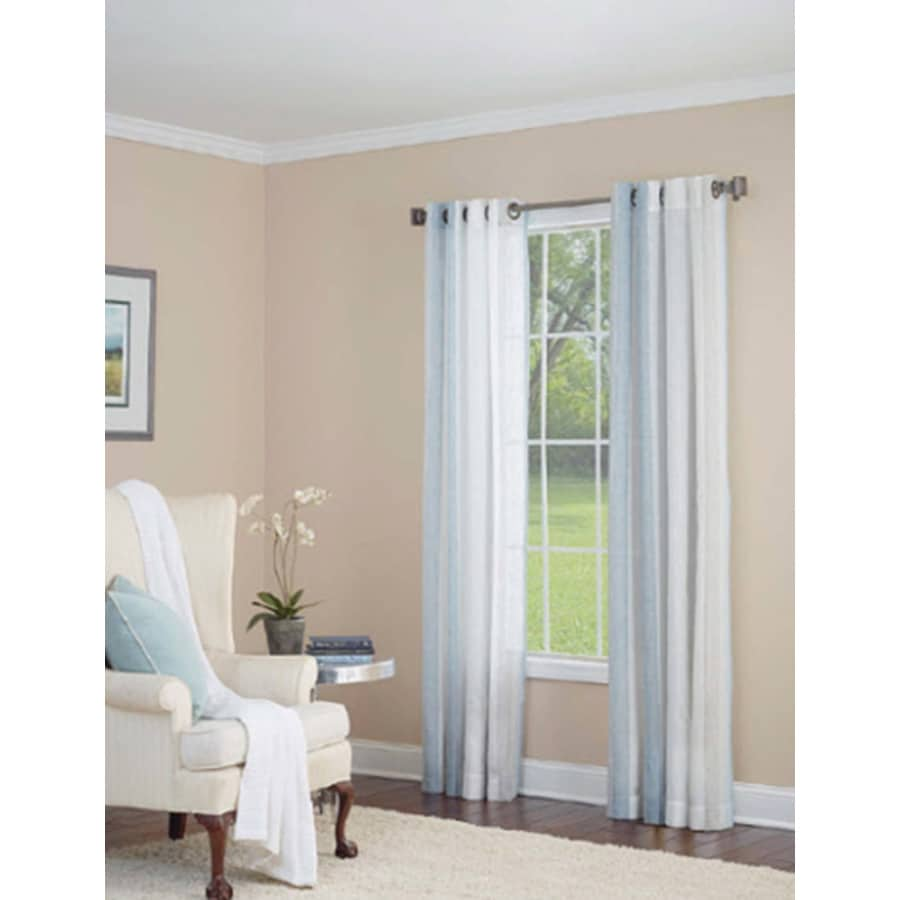 allen + roth Grovegate 95-in Sky Blue Faux Linen Grommet Semi-Sheer Single Curtain Panel